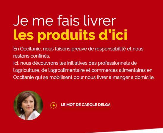 Initiatives des professionnels de l'agriculture, de l'agroalimentaire et commerces alimentaires en Occitanie qui se mobilisent pour nous livrer à manger à domicile.